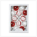 RED AND WHITE GLASS ORNAMENTS