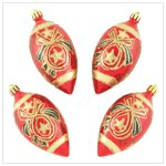RED AND GOLD EGG SHAPED ORNAMENTS