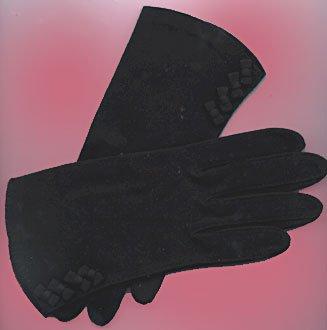 Crescendo Black Dress GLOVES Cotton Size 7 Vintage