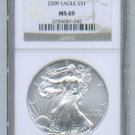 2009 AMERICAN SILVER EAGLE NGC MS69 BROWN / GOLD LABEL
