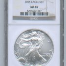 2005 AMERICAN SILVER EAGLE NGC MS69 BROWN / GOLD LABEL