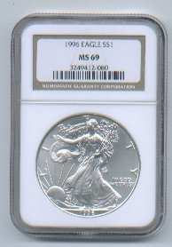 1996 AMERICAN SILVER EAGLE NGC MS69 BROWN / GOLD LABEL