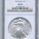 1995 AMERICAN SILVER EAGLE NGC MS69 BROWN / GOLD LABEL