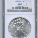 1993 AMERICAN SILVER EAGLE NGC MS69 BROWN / GOLD LABEL