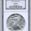 1987 AMERICAN SILVER EAGLE NGC MS69 BROWN / GOLD LABEL