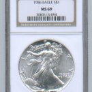 1986 AMERICAN SILVER EAGLE NGC MS69 BROWN / GOLD LABEL