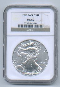 1998 AMERICAN SILVER EAGLE NGC MS69 BROWN / GOLD LABEL