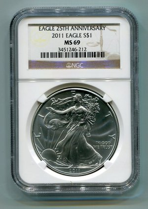 2011 AMERICAN SILVER EAGLE NGC MS69 BROWN / GOLD LABEL