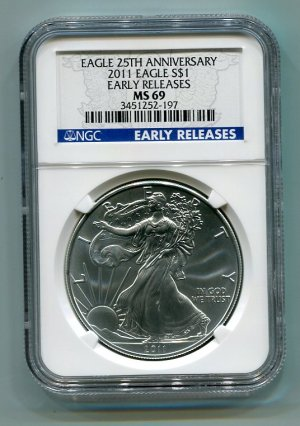 2011 AMERICAN SILVER EAGLE NGC MS69 EARLY RELEASE