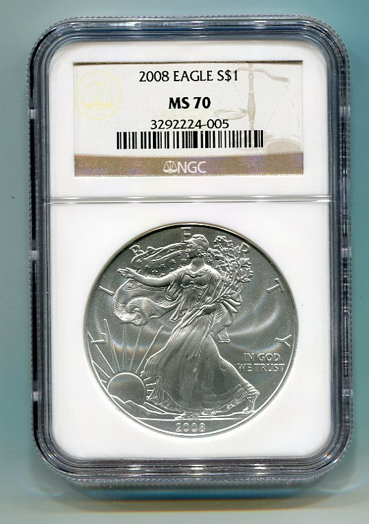 2008 AMERICAN SILVER EAGLE NGC MS70 BROWN / GOLD LABEL
