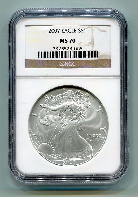 2007 AMERICAN SILVER EAGLE NGC MS70 BROWN / GOLD LABEL