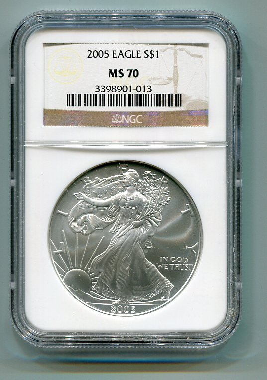 2005 AMERICAN SILVER EAGLE NGC MS70 BROWN / GOLD LABEL