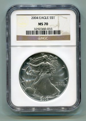 2004 AMERICAN SILVER EAGLE NGC MS70 BROWN / GOLD LABEL