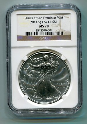 2011(S) AMERICAN SILVER EAGLE NGC MS70 SAN FRANCISCO MINT LABEL BROWN / GOLD LABEL