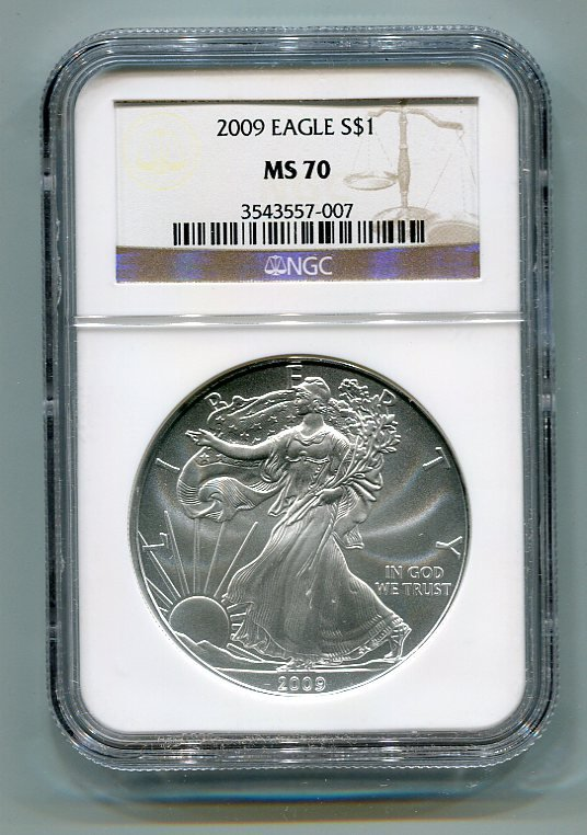 2009 AMERICAN SILVER EAGLE NGC MS70 BROWN / GOLD LABEL