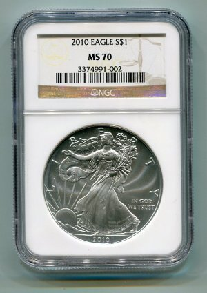 2010 AMERICAN SILVER EAGLE NGC MS70 BROWN/GOLD LABEL