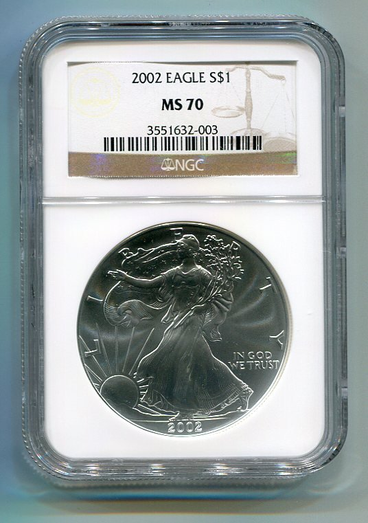 2002 AMERICAN SILVER EAGLE NGC MS70 BROWN / GOLD LABEL