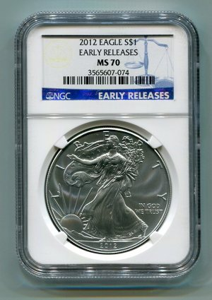 2012 AMERICAN SILVER EAGLE NGC MS70 EARLY RELEASE
