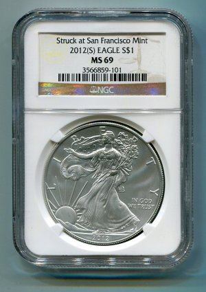 2012(S) SILVER EAGLE SAN FRANCISCO MINT LABEL NGC MS69 BROWN / GOLD LABEL