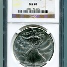 2015 AMERICAN SILVER EAGLE NGC MS 70 BROWN / GOLD LABEL