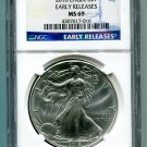 2016 AMERICAN SILVER EAGLE NGC MS 69 CLASSIC EARLY RELEASE BLUE LABEL