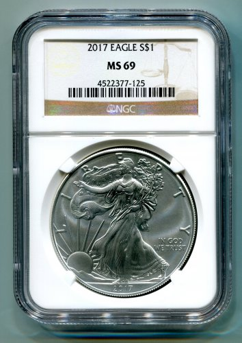 2017 AMERICAN SILVER EAGLE NGC MS 69 CLASSIC BROWN LABEL