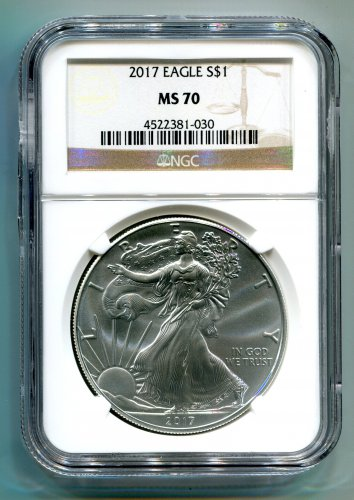2017 AMERICAN SILVER EAGLE NGC MS 70 CLASSIC BROWN LABEL