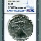2017 AMERICAN SILVER EAGLE NGC MS 69 NEW EARLY RELEASES BLUE LABEL