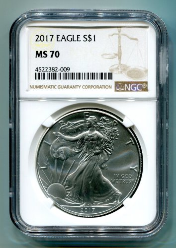 2017 AMERICAN SILVER EAGLE NGC MS 70 NEW BROWN LABEL