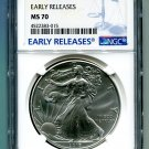 2017 AMERICAN SILVER EAGLE NGC MS 70 NEW EARLY RELEASES BLUE LABEL