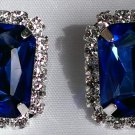 White Gold Plated Blue Sapphire Stud Earrings