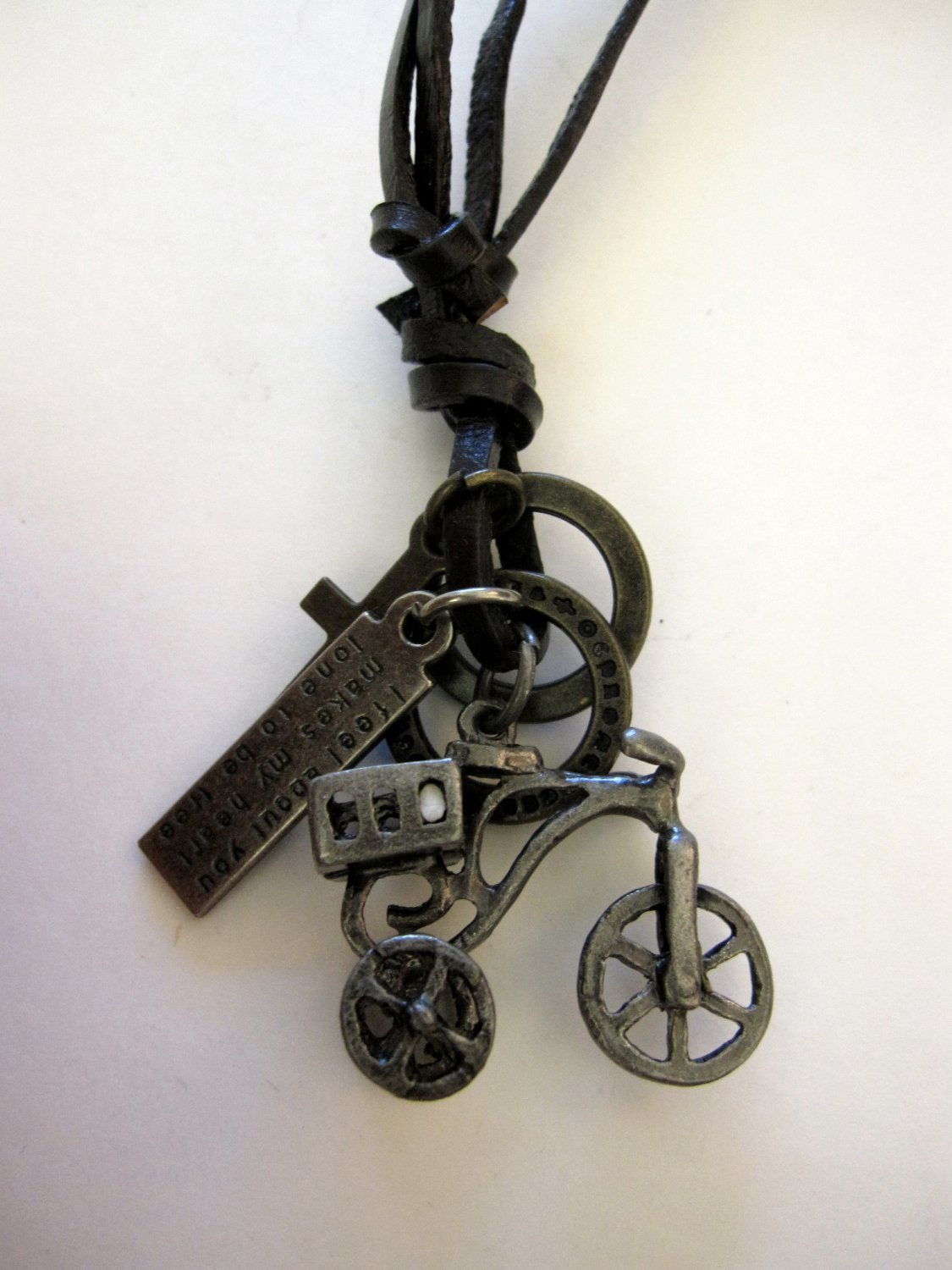 Bicycle Pendant with cross and Circle Rings Necklace (N661S)