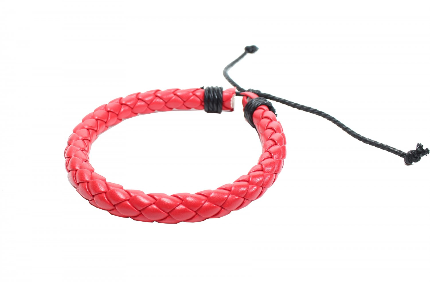 Red Cross Synthetic Leather With Strings Bracelet (B636S)