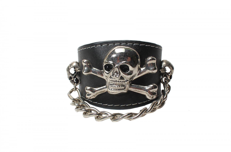 Skull Gothic Bracelet Wristband Cuff Punk (B632R)