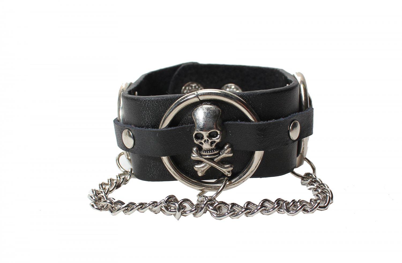Gothic Skulls Cuff Wristband Bracelet Rock Punk (B633R)