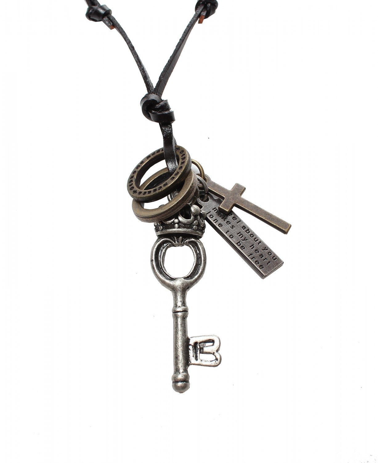 Key Pendant with Cross and Circle Rings Necklace (N616S)