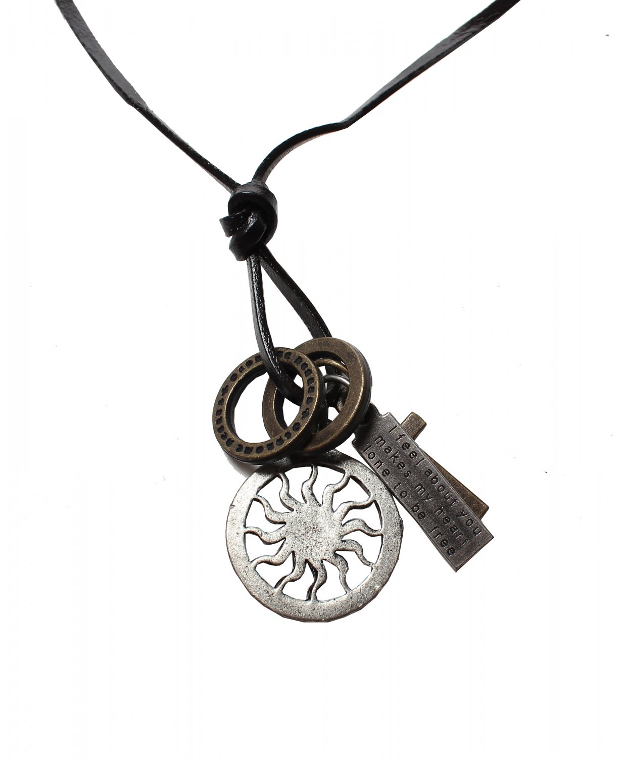 Sun Pendant with Cross and Circle Rings Necklace (N631S)