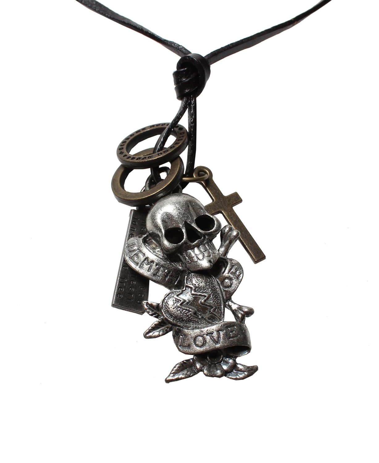 Skull Pendant with Cross and Circle Rings Necklace (N633S)