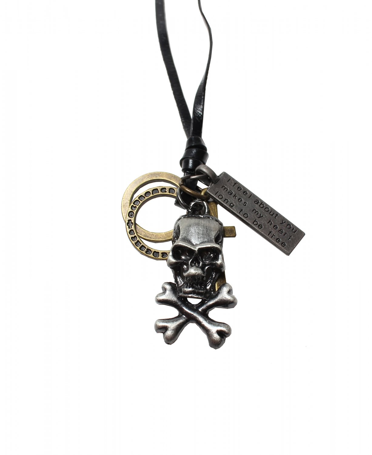 Skull Pendant with Cross and Circle Rings Necklace (N635S)