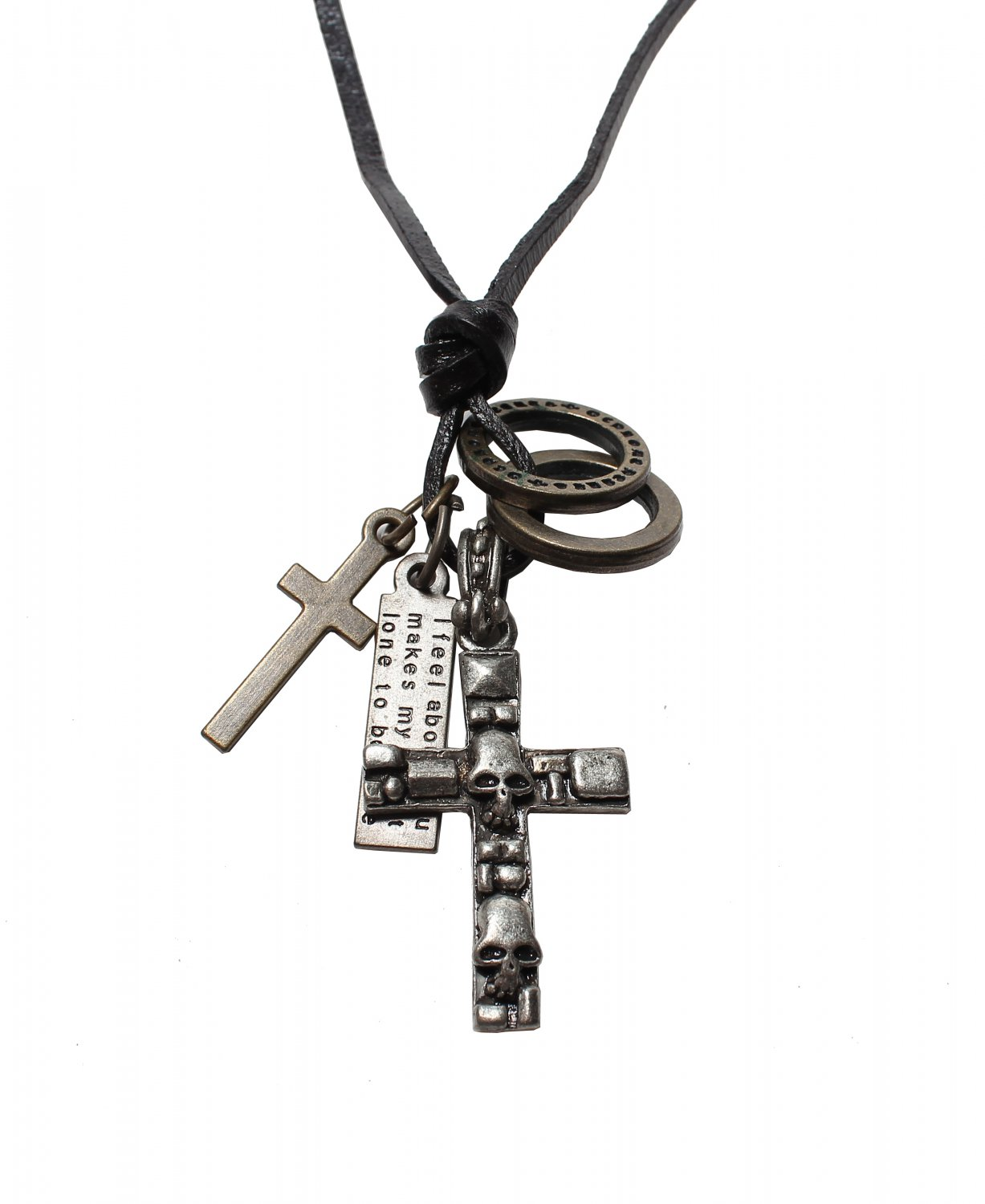Skull Cross Pendant with Cross and Circle Rings Necklace (N636S)