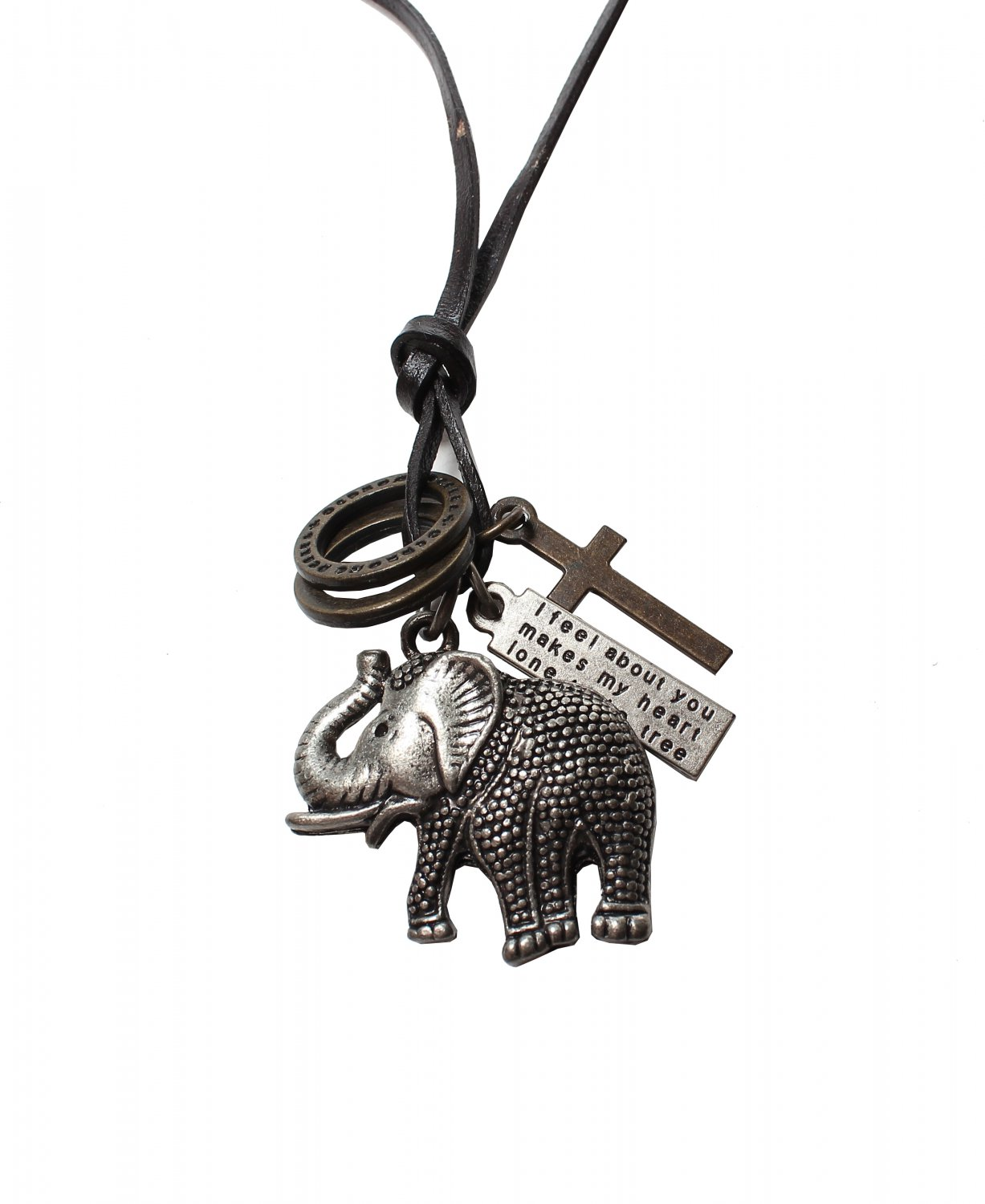 Elephant Pendant with Cross and Circle Rings Necklace (N638S)