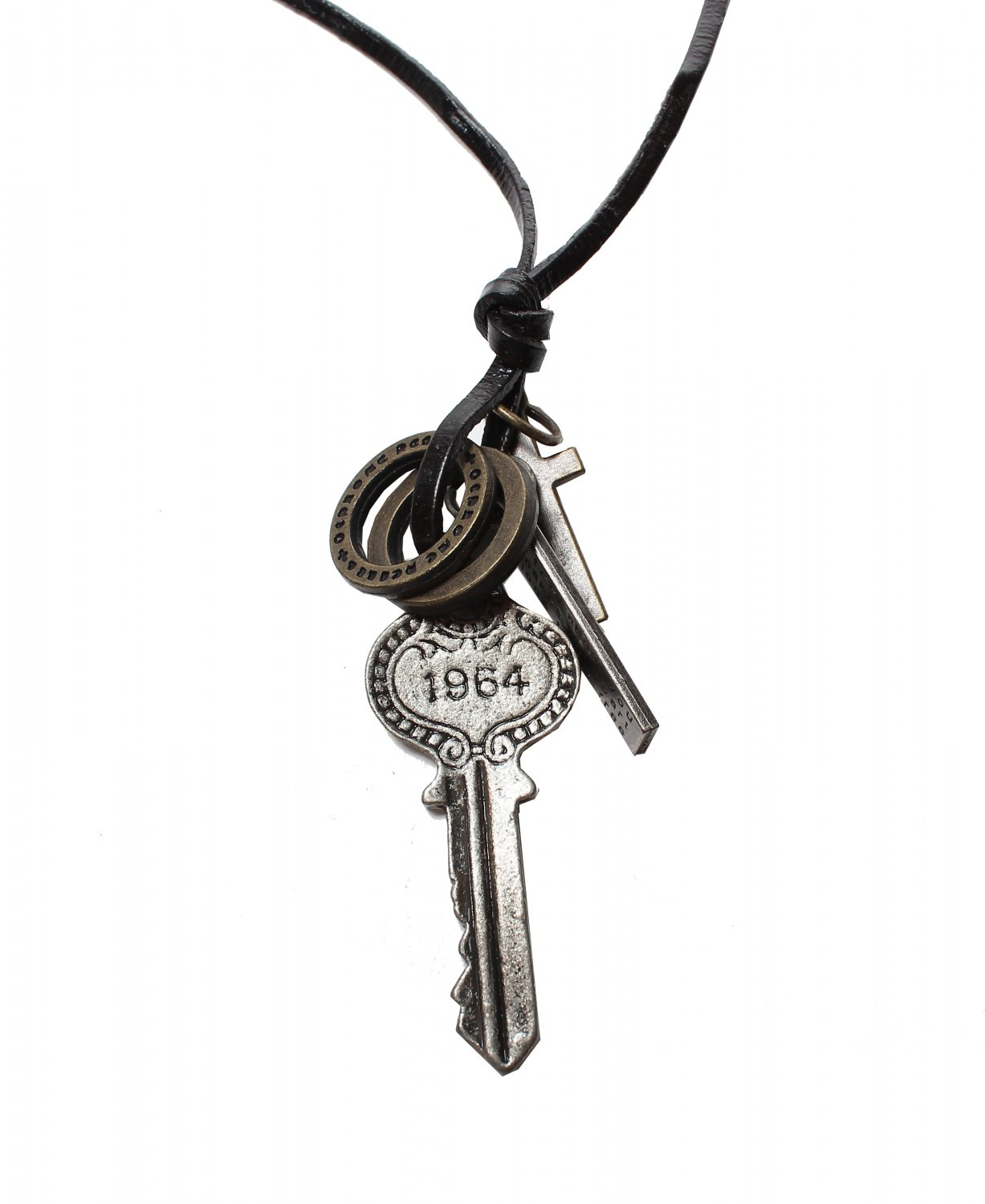 Key Pendant with Cross and Circle Rings Necklace (N639S)