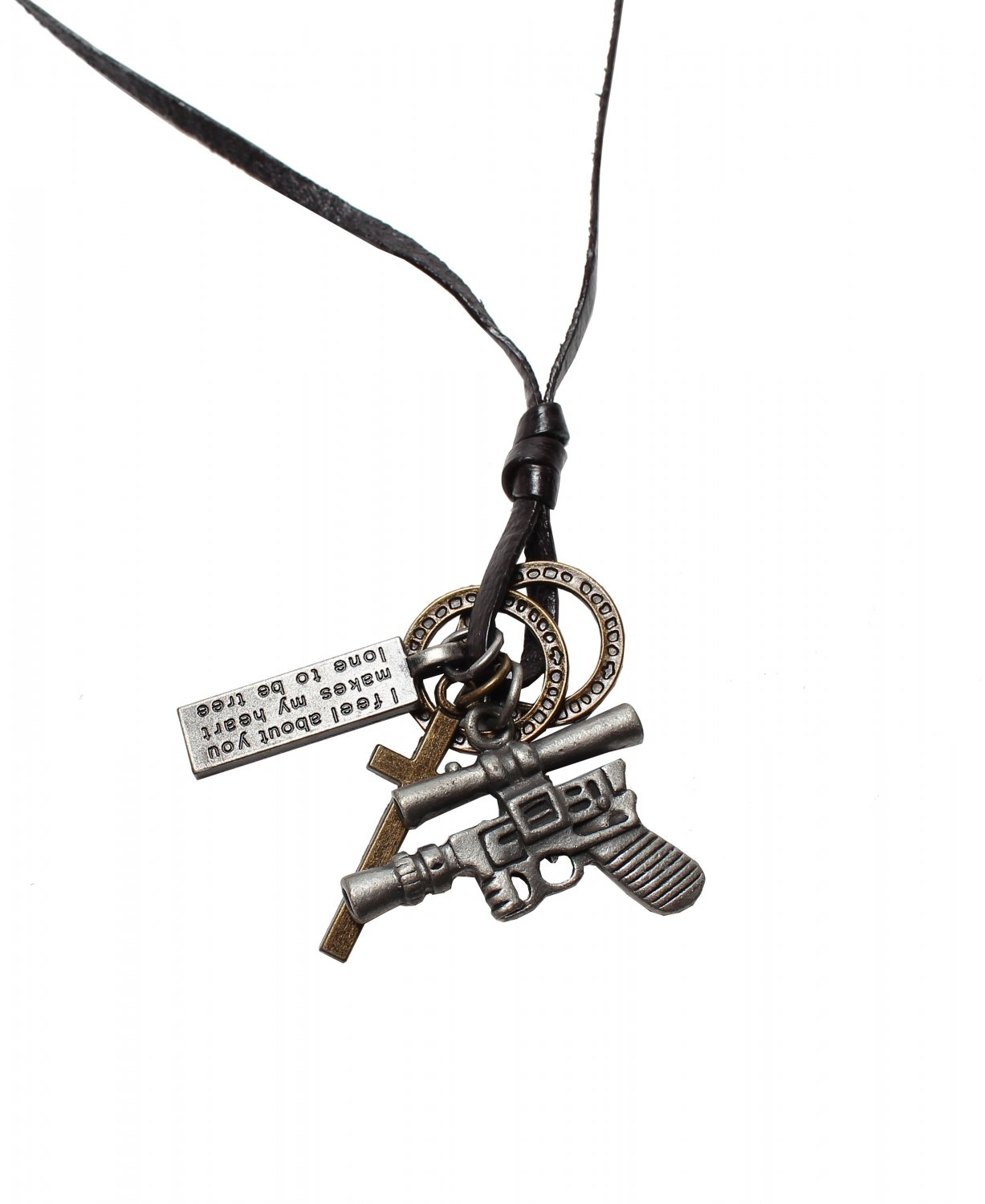 Gun Pendant with Cross and Circle Rings Necklace (N641S)