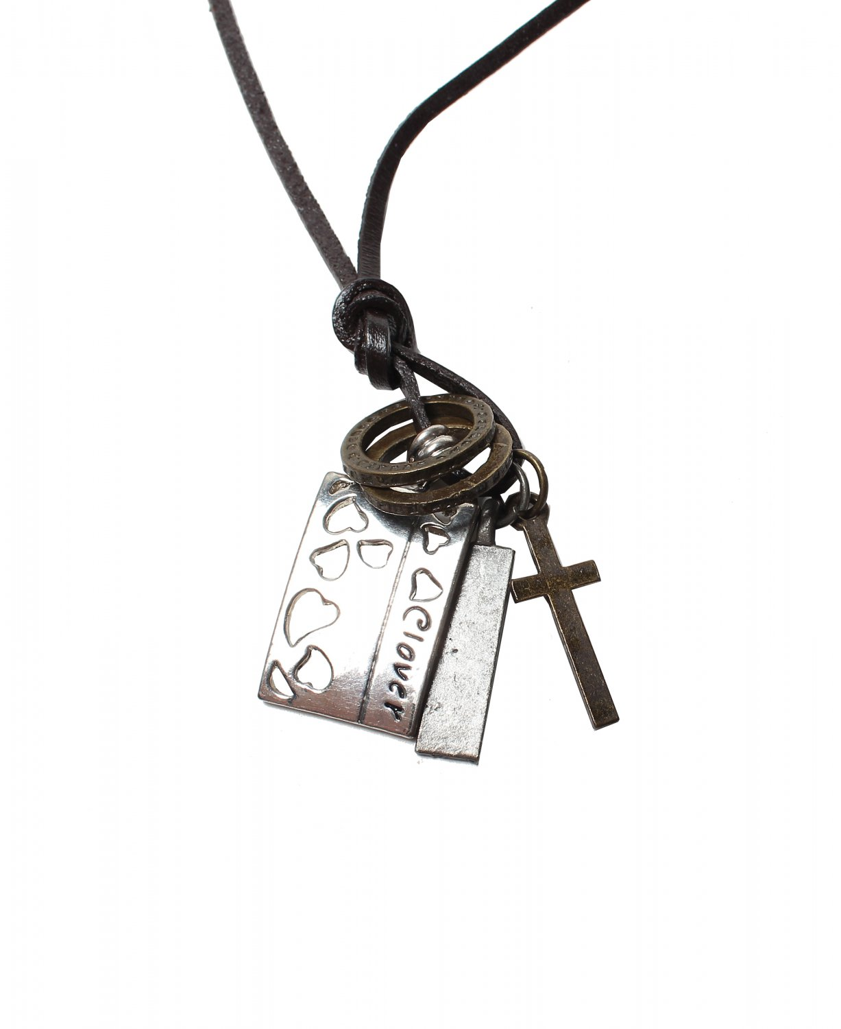 Love Pendant with Cross and Circle Rings Necklace (N646S)