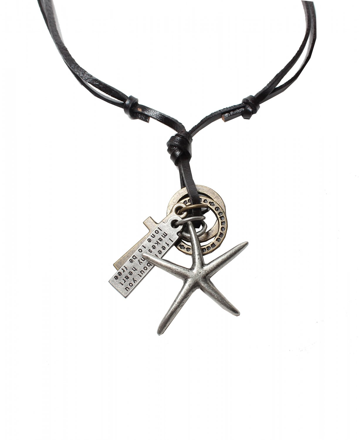 Sea Star Pendant with Cross and Circle Rings Necklace (N648S)