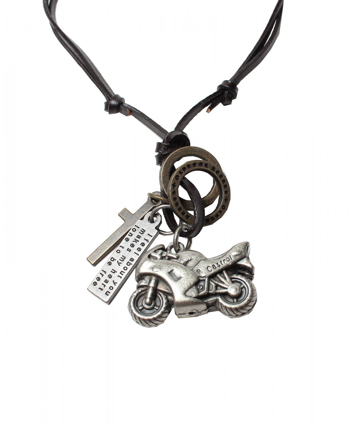Motorcycle Pendant with Cross and Circle Rings Necklace (N649S)