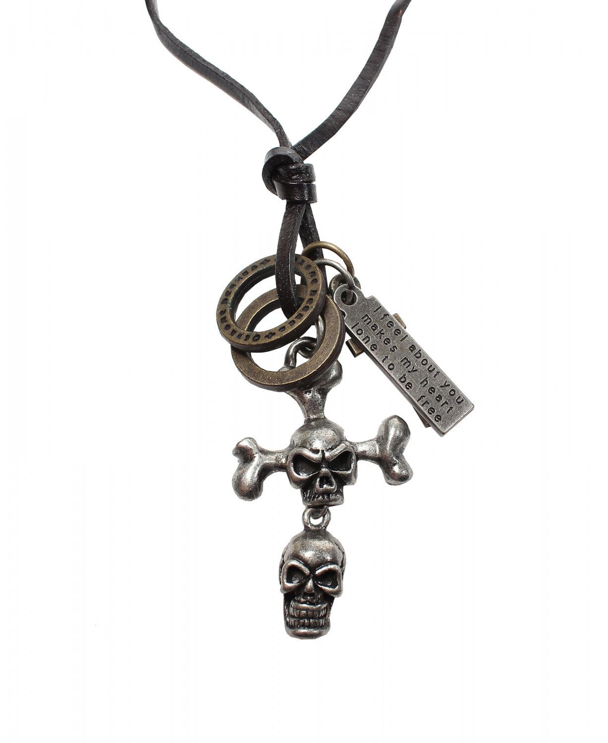 Double Skull Pendant with Cross ad Circle Rings Necklace (N654S)