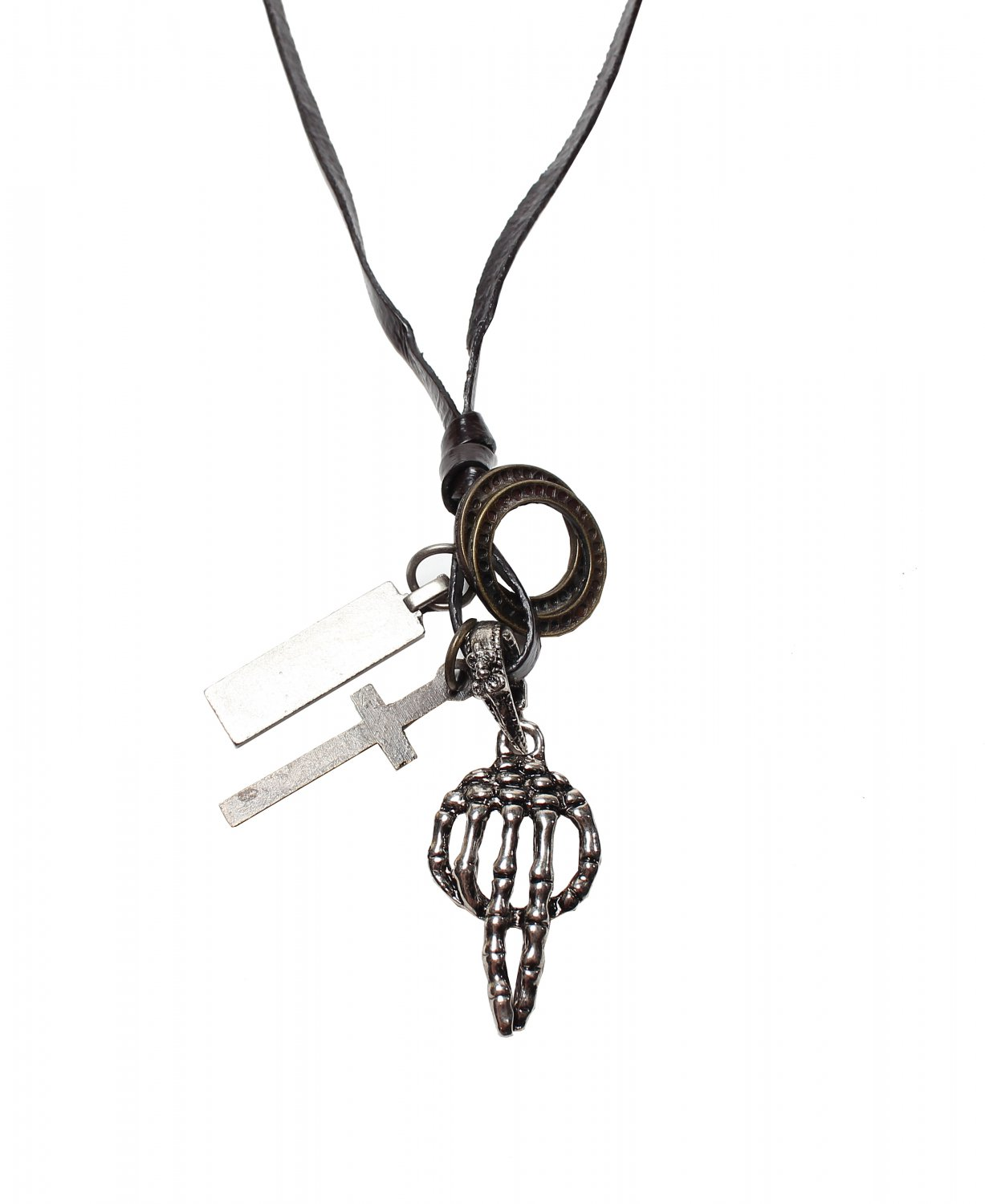 Hand Bone Pendant with Cross and Circle Rings Necklace (N657S)