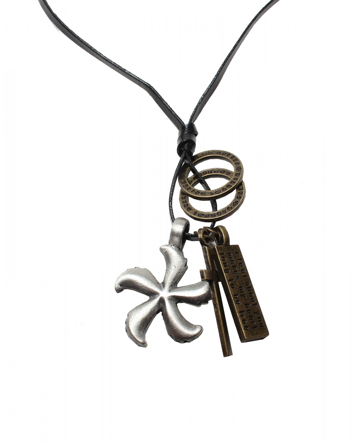 Flower Pendant with Cross ad Circle Rings Necklace (N658S)