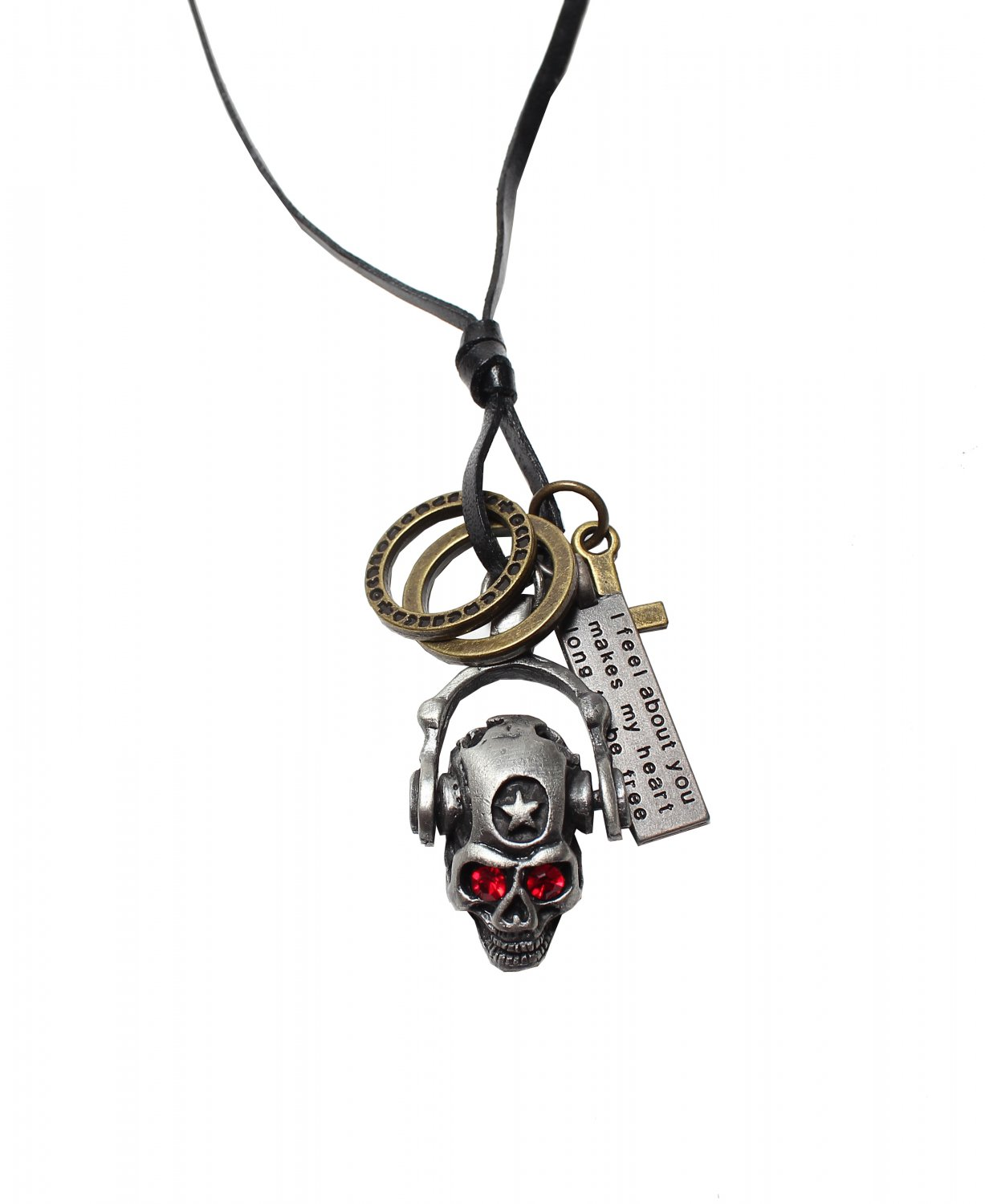 Skull Pendant with Cross and Circle Rings Necklace (N659S)